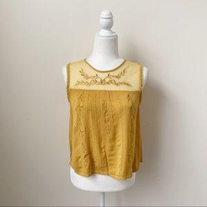 Bleuh Ciel Yellow Embroidered Sheer Panel Top